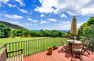 Makaha Home - deck ocean mountain views